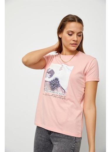 Setre Ekru Baskılı Kısa Kol T-Shirt Pudra